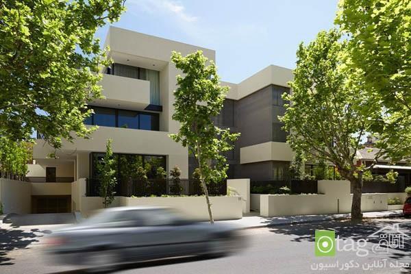 نمای ساختمان مدرن با رنگ سفید و خطوط طراحی ساده و ظریف